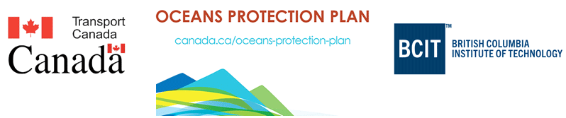 Logos of Transport Canada, OPP (Oceans Protection Plan) and BCIT(british Columbia Institute of Technology)