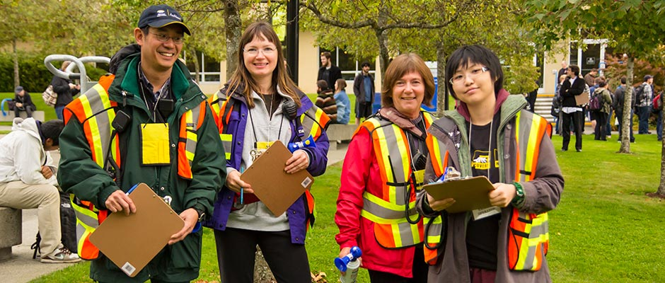 Camosun wardens wearing safety vests during a drill