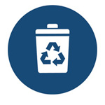 waste and recycling icon - waste bin with recycling symbol